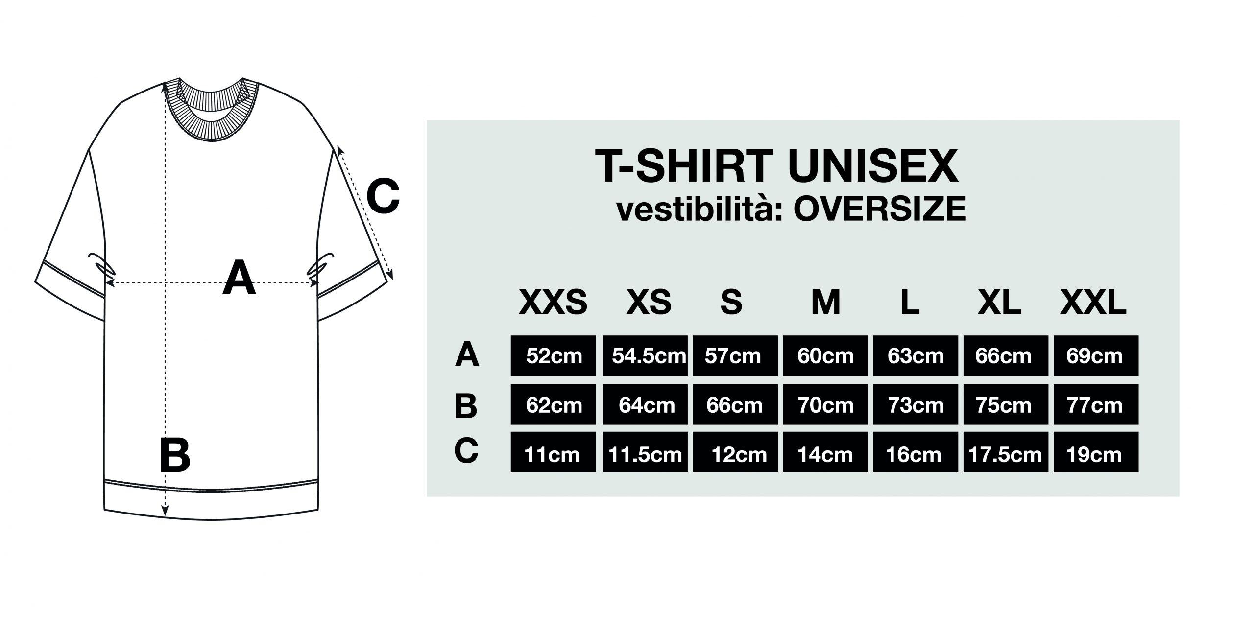 guida alle taglie per magliette oversize